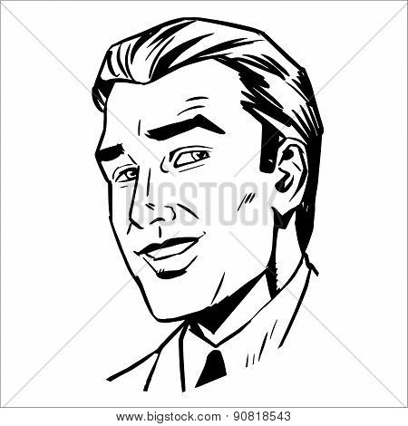 man face smiling sketch graphics