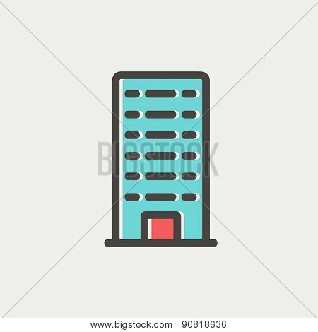 Office building icon thin line for web and mobile, modern minimalistic flat design. Vector icon with dark grey outline and offset colour on light grey background.