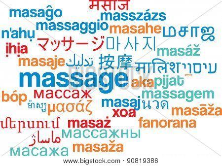 Background concept wordcloud multilanguage international many language illustration of massage