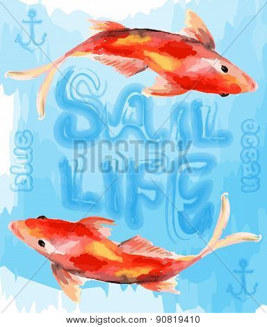 Illustration Cute Goldfish Vector File