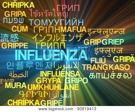 Background concept wordcloud multilanguage international many language illustration of influenza glowing light