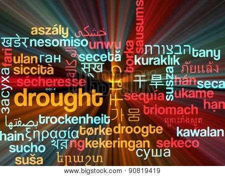 Background concept wordcloud multilanguage international many language illustration of drought glowing light