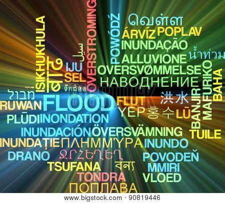 Background concept wordcloud multilanguage international many language illustration of flood glowing light