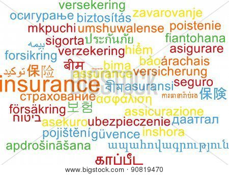 Background concept wordcloud multilanguage international many language illustration of insurance