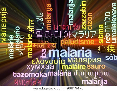 Background concept wordcloud multilanguage international many language illustration of malaria glowing light