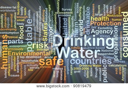 Background concept wordcloud illustration of drinking water glowing light