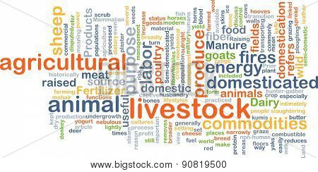 Background concept wordcloud illustration of livestock
