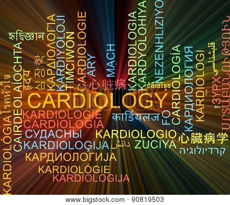 Background concept wordcloud multilanguage international many language illustration of cardiology glowing light