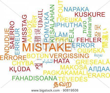 Background concept wordcloud multilanguage international many language illustration of mistake