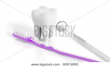 Molar tooth with dental mirror and toothbrush isolated on white background