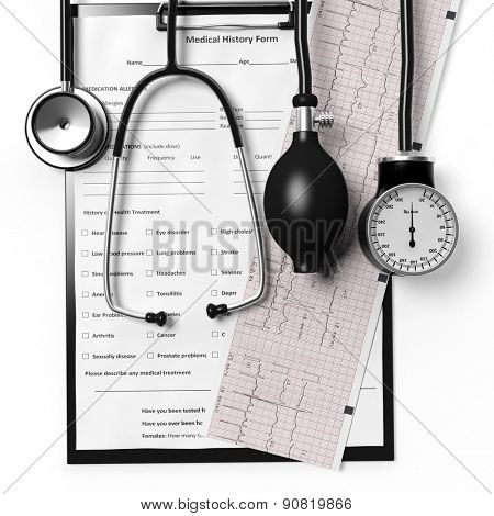 Patient form and cardiogram with medical equipment isolated on white