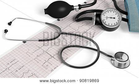 Stethoscope,sphygmomanometer and cardiogram  isolated on white