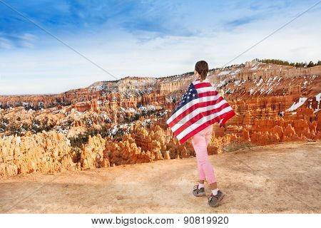 Woman wears USA flag, Bryce Canyon National Park