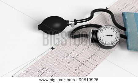 Sphygmomanometer and cardiogram isolated on white background