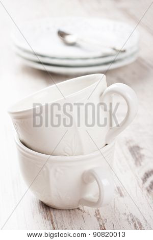 White crockery for tea