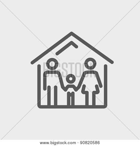 Family house icon thin line for web and mobile, modern minimalistic flat design. Vector dark grey icon on light grey background.