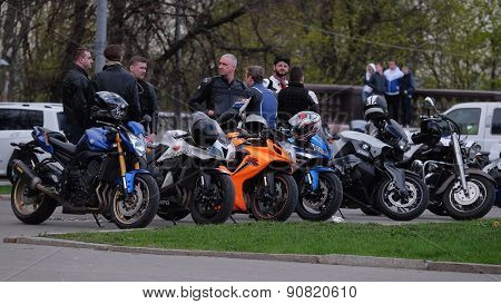 Moscow, Russia, May, 4, 2015: Bikers on the Sparrow Hills - a favorite gathering place of all Moscow bikers