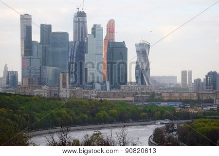 Moscow, Russia, May, 4, 2015: view to the Moscow city from the  Sparrow Hills in Moscow