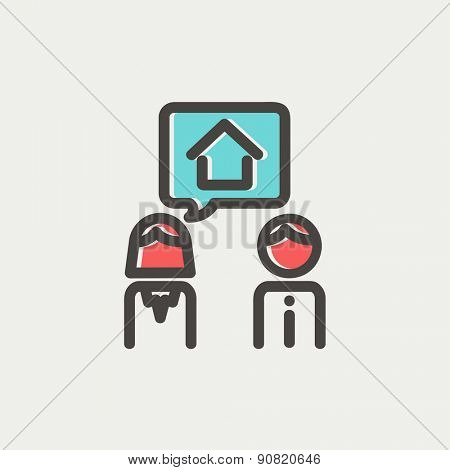 Couple consider to buy a house icon thin line for web and mobile, modern minimalistic flat design. Vector icon with dark grey outline and offset colour on light grey background.