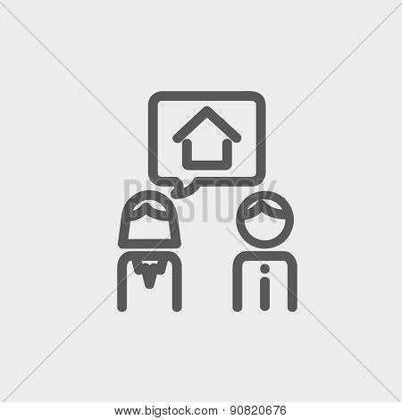 Couple consider to buy a house icon thin line for web and mobile, modern minimalistic flat design. Vector dark grey icon on light grey background.