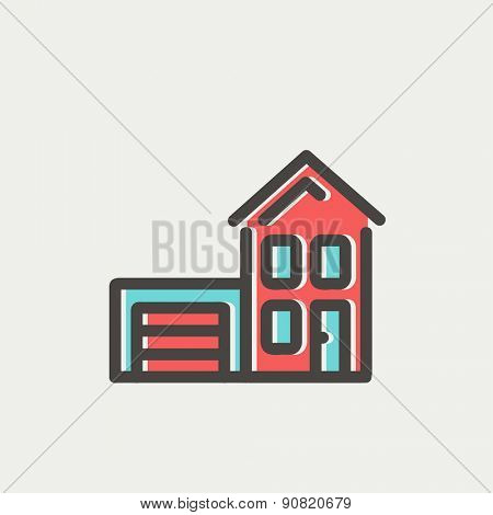 House with garage icon thin line for web and mobile, modern minimalistic flat design. Vector icon with dark grey outline and offset colour on light grey background.
