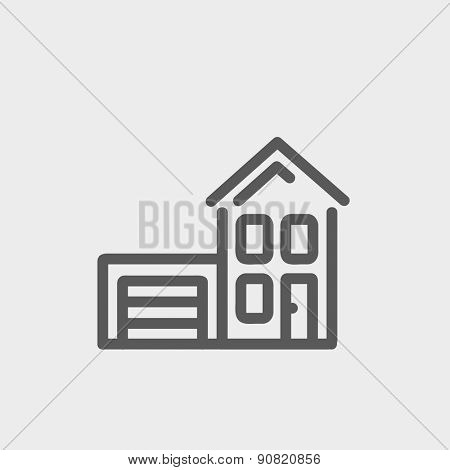 House with garage icon thin line for web and mobile, modern minimalistic flat design. Vector dark grey icon on light grey background.