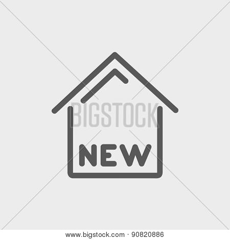 New house icon thin line for web and mobile, modern minimalistic flat design. Vector dark grey icon on light grey background.