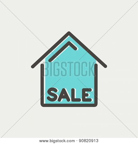 Sale sign icon thin line for web and mobile, modern minimalistic flat design. Vector icon with dark grey outline and offset colour on light grey background.