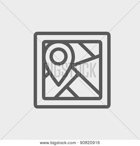 Map pointer house icon thin line for web and mobile, modern minimalistic flat design. Vector dark grey icon on light grey background.