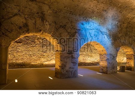 Old Roman Underground In The City Of Aosta In Italy