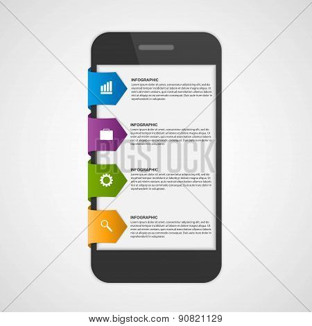 Mobile Infographic Design Concept. Design Elements. Vector Illustration.
