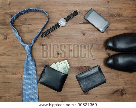 Gentleman Concept. Tie Dollars Watches Smartphone And Shoes