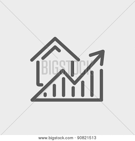 Residential Graph Increases icon thin line for web and mobile, modern minimalistic flat design. Vector dark grey icon on light grey background.