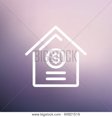 Dollar house icon thin line for web and mobile, modern minimalistic flat design. Vector white icon on gradient mesh background.