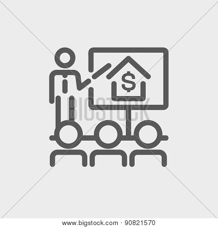Real estate agent seminar on how to earn money icon thin line for web and mobile, modern minimalistic flat design. Vector dark grey icon on light grey background.