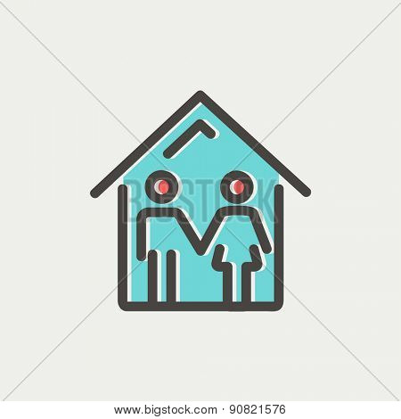 Family house icon thin line for web and mobile, modern minimalistic flat design. Vector icon with dark grey outline and offset colour on light grey background.