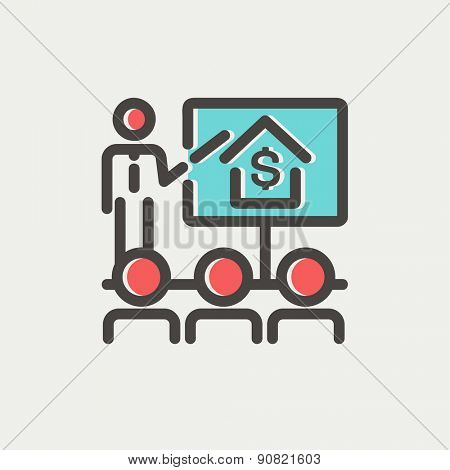 Real estate agent seminar on how to earn money icon thin line for web and mobile, modern minimalistic flat design. Vector icon with dark grey outline and offset colour on light grey background.