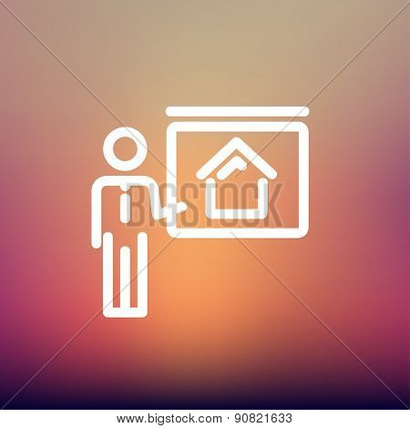 Real estate training icon thin line for web and mobile, modern minimalistic flat design. Vector white icon on gradient mesh background.