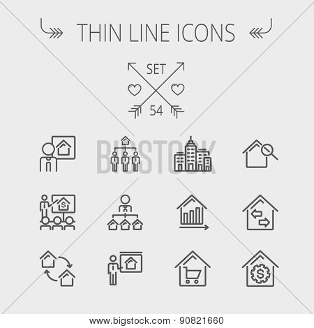 Real estate thin line icon set for web and mobile. Set includes- agents, training, seminar, building, growth graph, house with magnifying glass icons. Modern minimalistic flat design. Vector dark grey