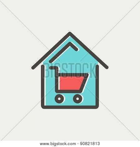 House shopping icon thin line for web and mobile, modern minimalistic flat design. Vector icon with dark grey outline and offset colour on light grey background.