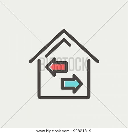 House with left and right arrow icon thin line for web and mobile, modern minimalistic flat design. Vector icon with dark grey outline and offset colour on light grey background.