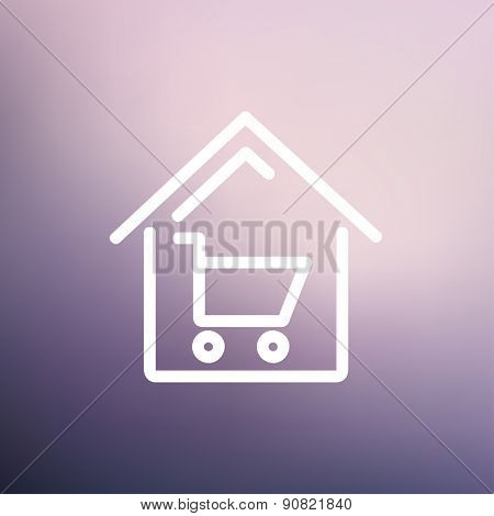 House shopping icon thin line for web and mobile, modern minimalistic flat design. Vector white icon on gradient mesh background.