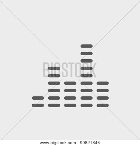 Digital equalizer icon thin line for web and mobile, modern minimalistic flat design. Vector dark grey icon on light grey background.