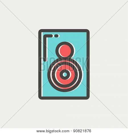 Two way audio speaker icon thin line for web and mobile, modern minimalistic flat design. Vector icon with dark grey outline and offset colour on light grey background.