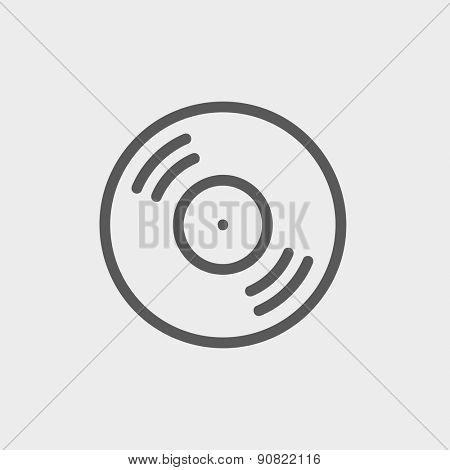 Vinyl disc icon thin line for web and mobile, modern minimalistic flat design. Vector dark grey icon on light grey background.