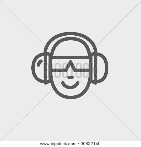 Head with headphone and sunglasses icon thin line for web and mobile, modern minimalistic flat design. Vector dark grey icon on light grey background.