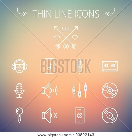 Music and entertainment thin line icon set for web and mobile. Set includes-loudspeaker, headphone, microphone retro, cassette tape, control volume, vinyl disc icons. Modern minimalistic flat design