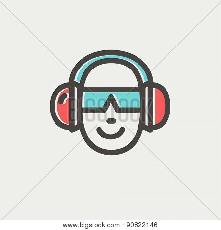 Head with headphone and sunglasses icon thin line for web and mobile, modern minimalistic flat design. Vector icon with dark grey outline and offset colour on light grey background.