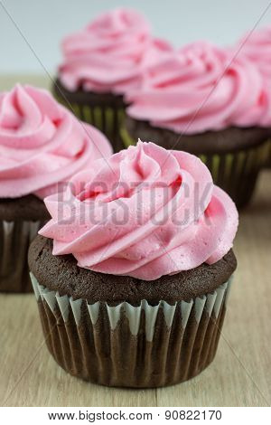 Chocolate Cupcakes With Pink Icing