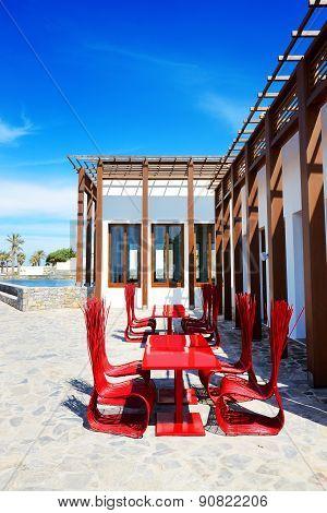 The Outdoor Restaurant Near Beach At Luxury Hotel, Crete, Greece
